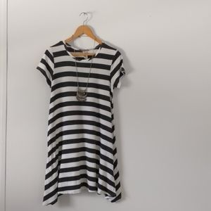 T shirt dress and necklace
